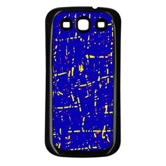 Blue Pattern Samsung Galaxy S3 Back Case (black) by Valentinaart