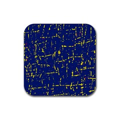 Deep Blue And Yellow Pattern Rubber Coaster (square)  by Valentinaart