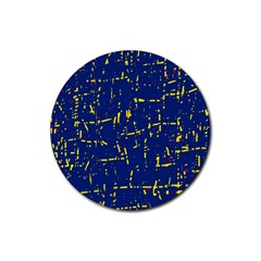 Deep Blue And Yellow Pattern Rubber Coaster (round)  by Valentinaart