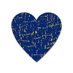 Deep Blue And Yellow Pattern Heart Magnet by Valentinaart