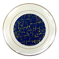 Deep Blue And Yellow Pattern Porcelain Plates by Valentinaart