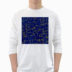 Deep Blue And Yellow Pattern White Long Sleeve T-shirts by Valentinaart