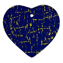 Deep Blue And Yellow Pattern Heart Ornament (2 Sides) by Valentinaart