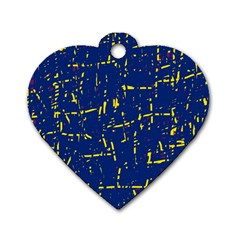 Deep Blue And Yellow Pattern Dog Tag Heart (two Sides) by Valentinaart