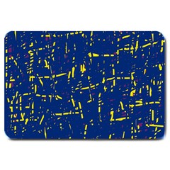 Deep Blue And Yellow Pattern Large Doormat  by Valentinaart