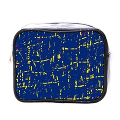 Deep Blue And Yellow Pattern Mini Toiletries Bags by Valentinaart