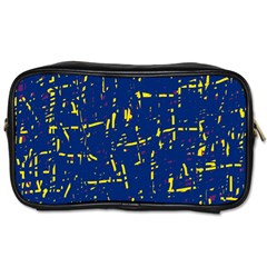 Deep Blue And Yellow Pattern Toiletries Bags