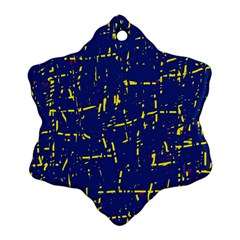 Deep Blue And Yellow Pattern Snowflake Ornament (2 Side) by Valentinaart