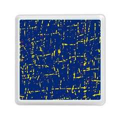 Deep Blue And Yellow Pattern Memory Card Reader (square)  by Valentinaart