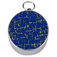 Deep Blue And Yellow Pattern Silver Compasses by Valentinaart
