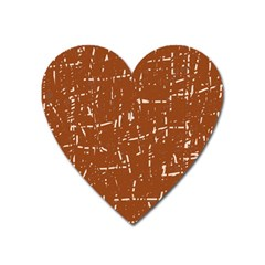 Brown Elelgant Pattern Heart Magnet by Valentinaart