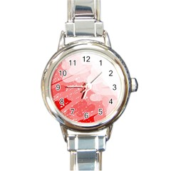 Red Pattern Round Italian Charm Watch by Valentinaart