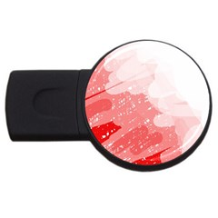 Red Pattern Usb Flash Drive Round (4 Gb)  by Valentinaart