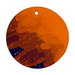Orange And Blue Artistic Pattern Ornament (round)  by Valentinaart