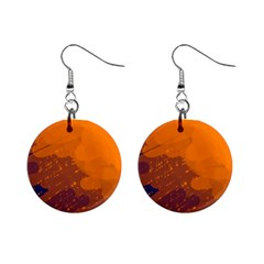 Orange And Blue Artistic Pattern Mini Button Earrings by Valentinaart