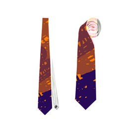 Orange And Blue Artistic Pattern Neckties (one Side)  by Valentinaart
