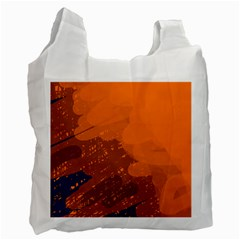 Orange And Blue Artistic Pattern Recycle Bag (two Side)  by Valentinaart