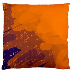 Orange And Blue Artistic Pattern Large Cushion Case (two Sides) by Valentinaart