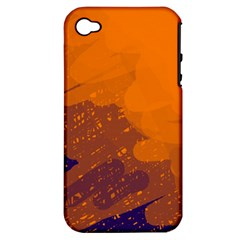 Orange And Blue Artistic Pattern Apple Iphone 4/4s Hardshell Case (pc+silicone) by Valentinaart