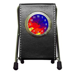Colorful Pattern Pen Holder Desk Clocks by Valentinaart