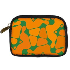Orange Shapes                                                                                        	digital Camera Leather Case by LalyLauraFLM