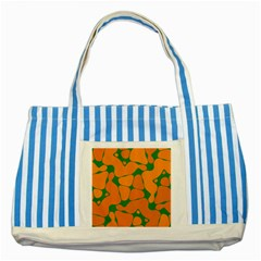 Orange Shapes                                                                                        			striped Blue Tote Bag by LalyLauraFLM