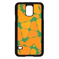 Orange Shapes                                                                                       			samsung Galaxy S5 Case (black) by LalyLauraFLM