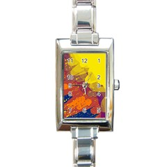 Colorful Abstract Pattern Rectangle Italian Charm Watch by Valentinaart