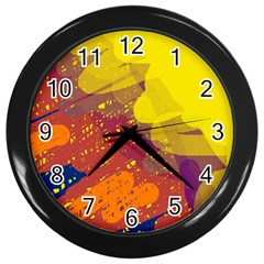 Colorful Abstract Pattern Wall Clocks (black) by Valentinaart