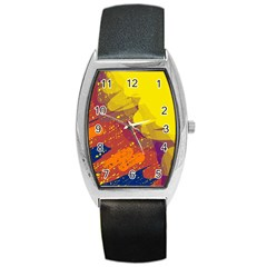 Colorful Abstract Pattern Barrel Style Metal Watch by Valentinaart