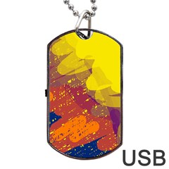 Colorful Abstract Pattern Dog Tag Usb Flash (two Sides)  by Valentinaart