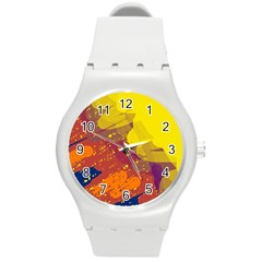 Colorful Abstract Pattern Round Plastic Sport Watch (m) by Valentinaart