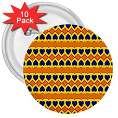 Hearts And Rhombus Pattern                                                                                          			3  Button (10 Pack) by LalyLauraFLM