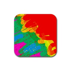 Colorful Abstract Design Rubber Square Coaster (4 Pack)  by Valentinaart