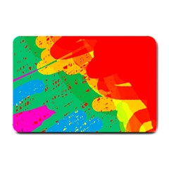 Colorful Abstract Design Small Doormat  by Valentinaart