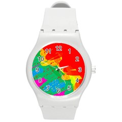 Colorful Abstract Design Round Plastic Sport Watch (m) by Valentinaart