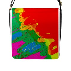 Colorful Abstract Design Flap Messenger Bag (l)  by Valentinaart