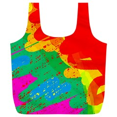 Colorful Abstract Design Full Print Recycle Bags (l)  by Valentinaart