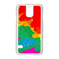 Colorful Abstract Design Samsung Galaxy S5 Case (white) by Valentinaart