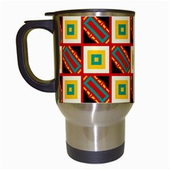 Squares And Rectangles Pattern                                                                                          Travel Mug (white) by LalyLauraFLM