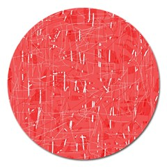 Red Pattern Magnet 5  (round) by Valentinaart