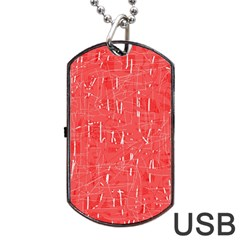 Red Pattern Dog Tag Usb Flash (one Side) by Valentinaart