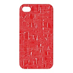 Red Pattern Apple Iphone 4/4s Premium Hardshell Case by Valentinaart