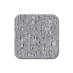 Gray Pattern Rubber Square Coaster (4 Pack)  by Valentinaart