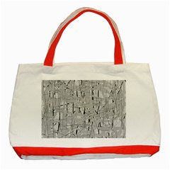 Gray Pattern Classic Tote Bag (red) by Valentinaart