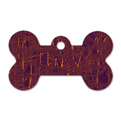 Purple Pattern Dog Tag Bone (two Sides) by Valentinaart