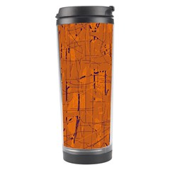 Orange Pattern Travel Tumbler by Valentinaart
