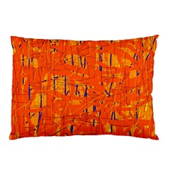 Orange Pattern Pillow Case by Valentinaart