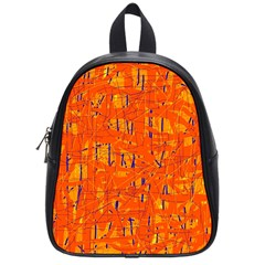 Orange Pattern School Bags (small)  by Valentinaart