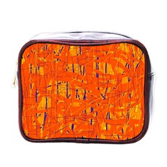Orange Pattern Mini Toiletries Bags by Valentinaart